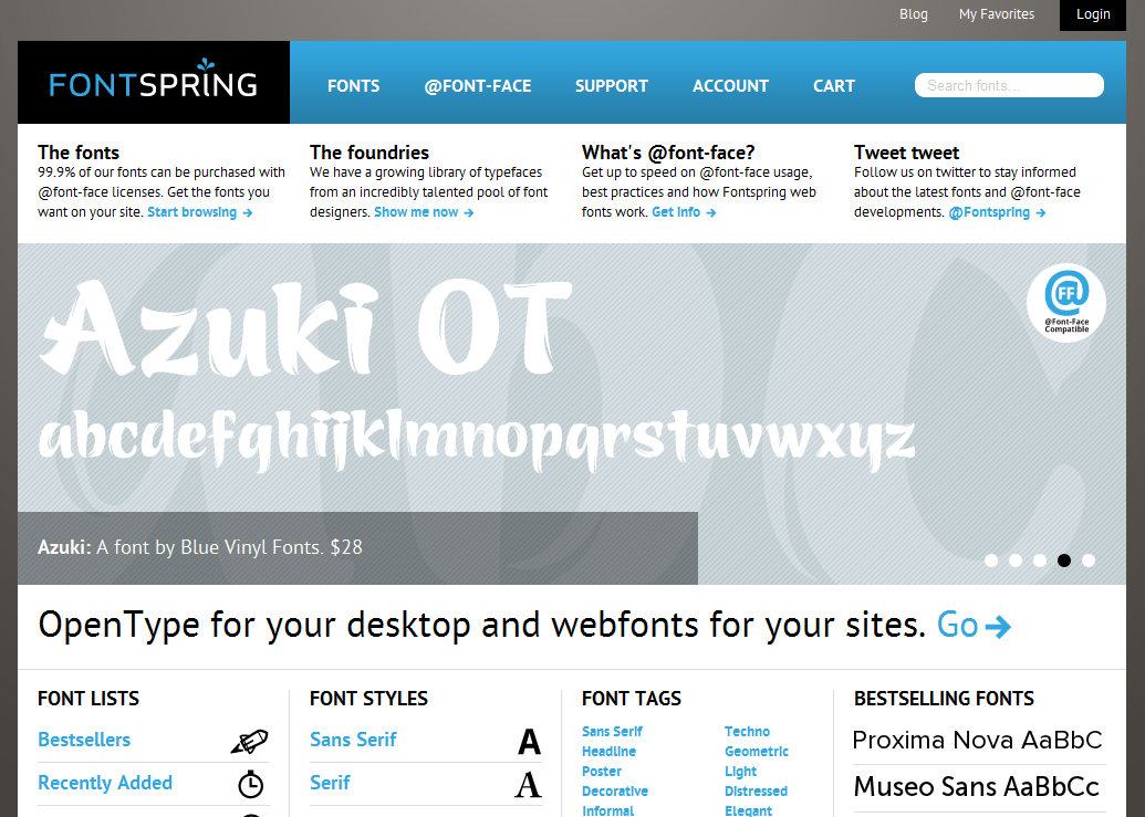 Desktop and  font-face fonts   Fontspring