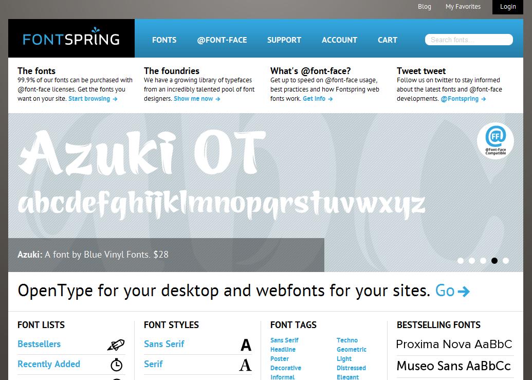 Desktop and  font-face fonts   Fontspring