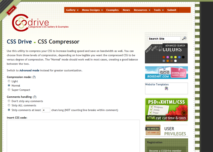 CSS Drive: CSS Compressor