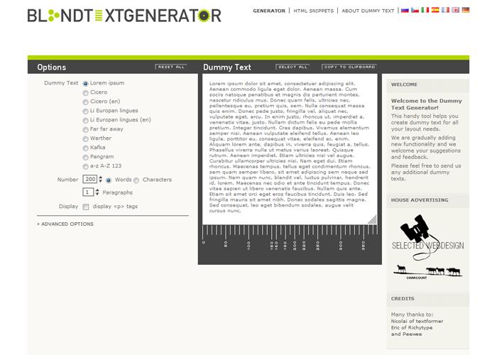 Dummy Text Generator, Lorem ipsum for webdesigners