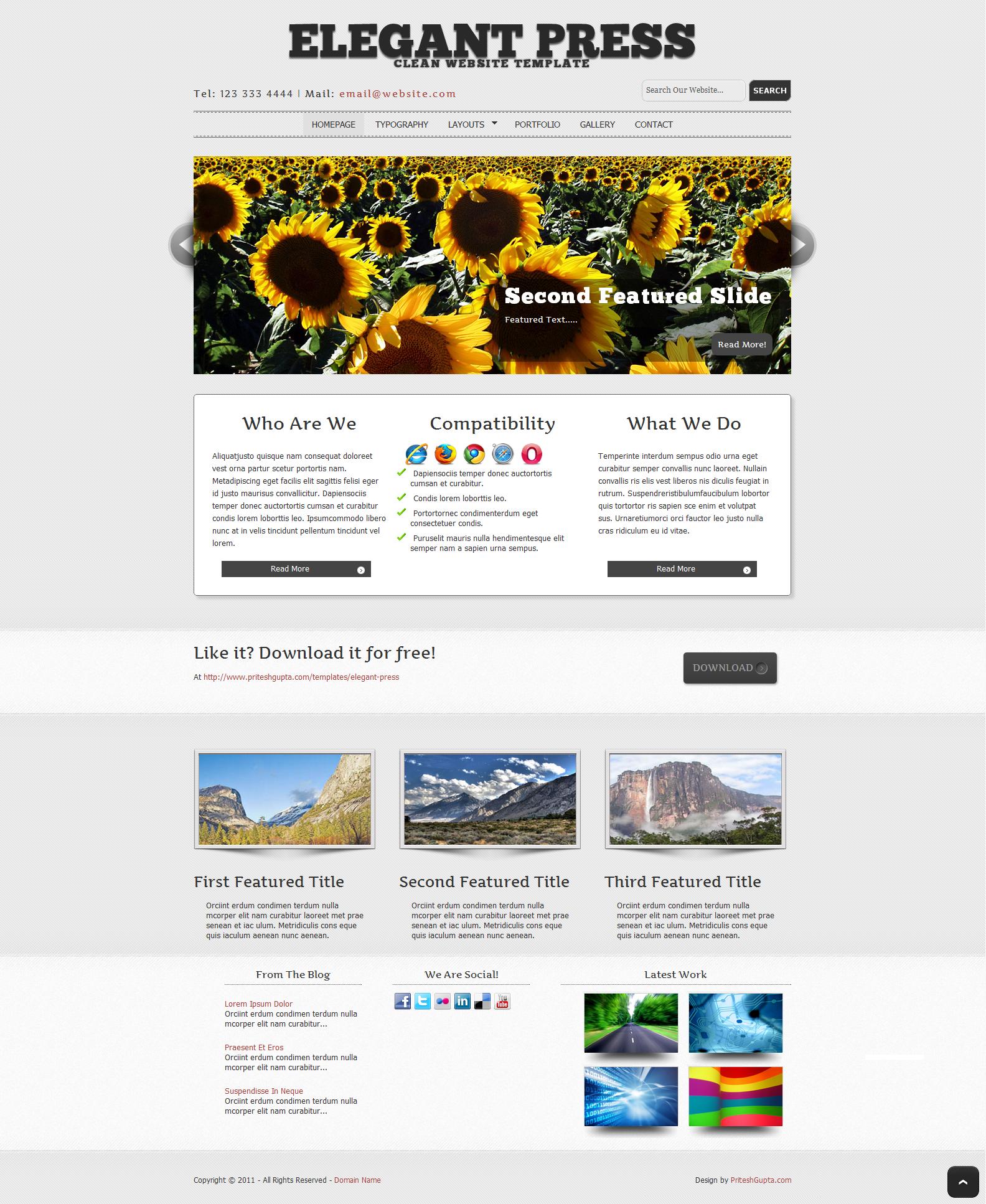 Elegant Press: Free Website Template | Pritesh Gupta
