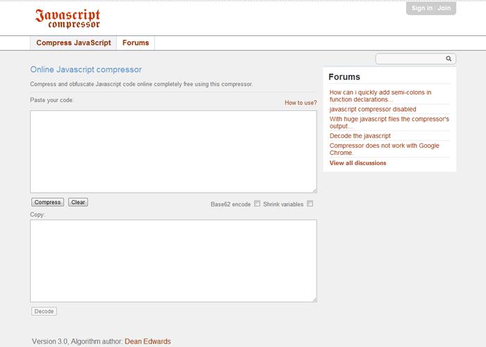 Javascript Compressor   compress code online for free