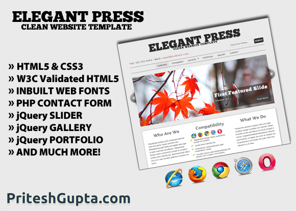 Elegant press free website template pritesh gupta elegant press free website template maxwellsz