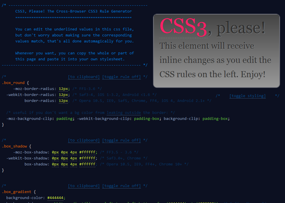 CSS3 Please: Cross-Browser CSS3 Rule Generator