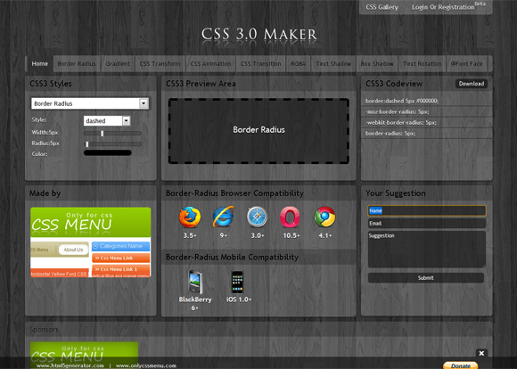 CSS3.0 Maker, Generator