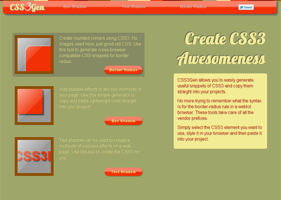 CSS3Gen: CSS3 Generator, Tools and Snippets